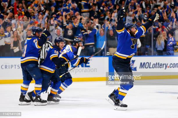 Pat Maroon of the St. Louis Blues celebrates after scoring the game-winning goal in double overtime in Game Seven of the Western Conference Second...