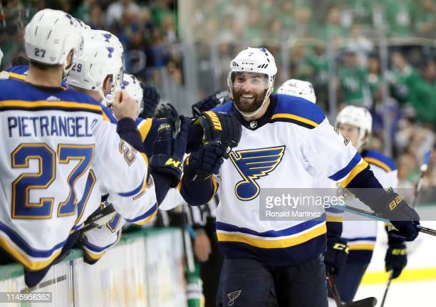 Pat Maroon of the St Louis Blues celebrates his goal against the Dallas Stars during the third period of Game Two of the Western Conference Second...