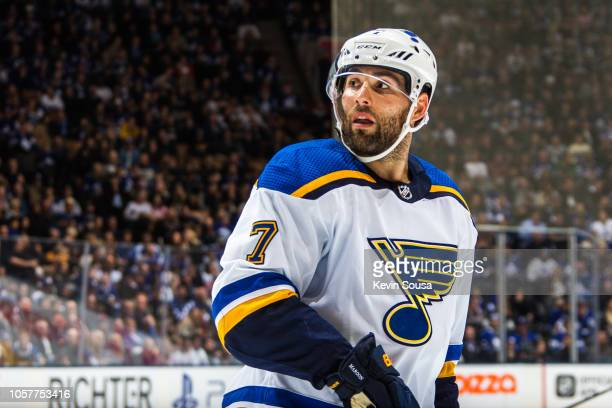 Pat Maroon of the St Louis Blues looks on against the Toronto Maple Leafs during the third period at the Scotiabank Arena on October 20 2018 in...