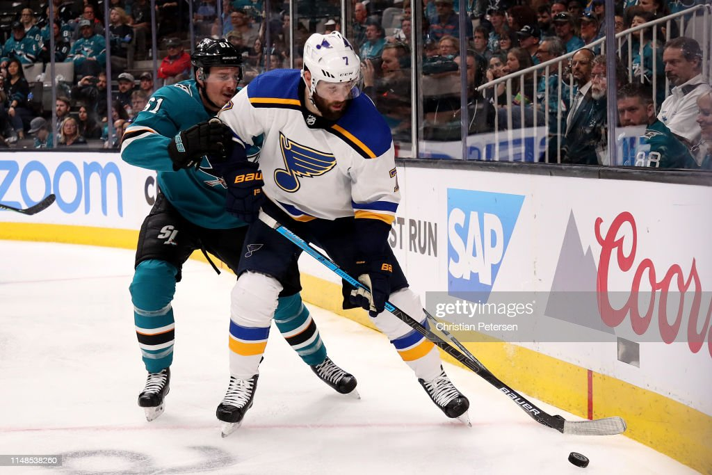 St Louis Blues v San Jose Sharks - Game One : News Photo