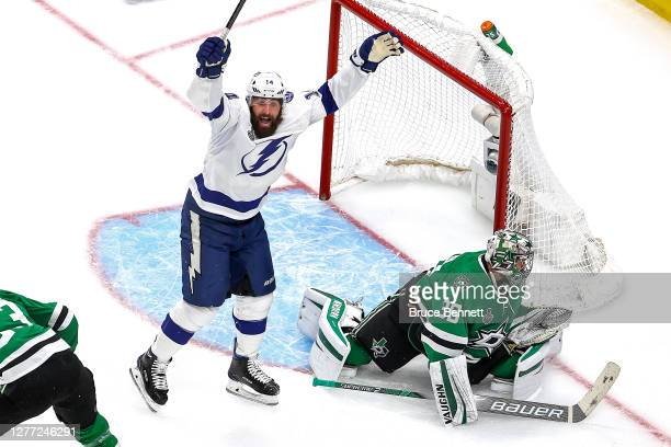 Pat Maroon of the Tampa Bay Lightning celebrates a goal by teammate Blake Coleman past Anton Khudobin of the Dallas Stars during the second period in...