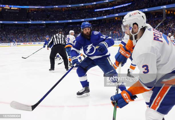 Pat Maroon of the Tampa Bay Lightning skates against the New York Islanders in Game Seven of the NHL Stanley Cup Semifinals during the 2021 Stanley...