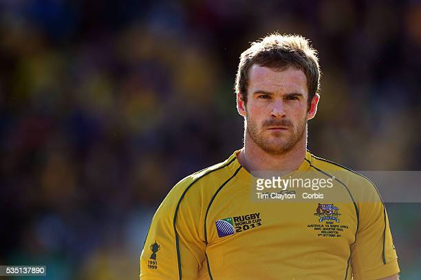 Pat McCabe Australia during the teams national anthems before the South Africa V Australia Quarter Final match at the IRB Rugby World Cup tournament...