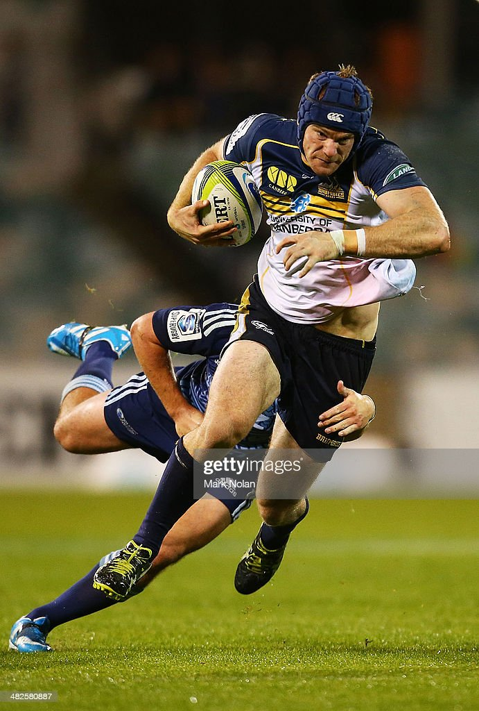 Pat McCabe of the Brumbies makes a line break during the round eight Super Rugby match between the Brumbies and the Bulls at Canberra Stadium on April 4, 2014 in Canberra, Australia.