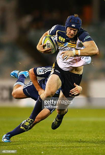 Pat McCabe of the Brumbies makes a line break during the round eight Super Rugby match between the Brumbies and the Bulls at Canberra Stadium on...
