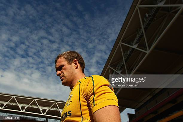 Pat McCabe of the Wallabies walks onto the field prior to the Australian Wallabies captain's run at Suncorp Stadium on June 8, 2012 in Brisbane,...