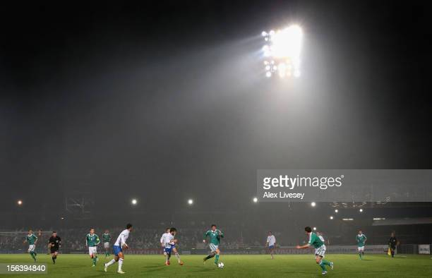 Pat McCourt of Northern Ireland runs with the ball during the FIFA 2014 World Cup Group F Qualifying match between Northern Ireland and Azerbaijan at...