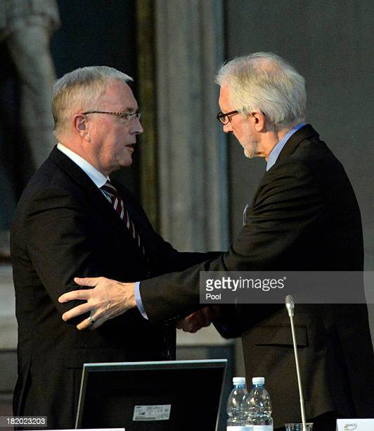Pat McQuaid and Brian Cookson attend the UCI Congress at Palazzo Vecchio on September 27 2013 in Florence Italy