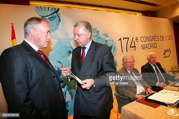 Pat McQuaid of Ireland new president of the world's cycling governing body and Hein Verbruggen and Laurent De Bakker at the 174th congress of the...