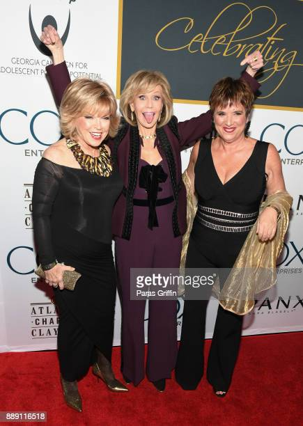 Pat Mitchell Jane Fonda and Eve Enseler attend GCAPP 'Eight Decades of Jane' in celebration of Jane Fonda's 80th birthday at The Whitley on December...