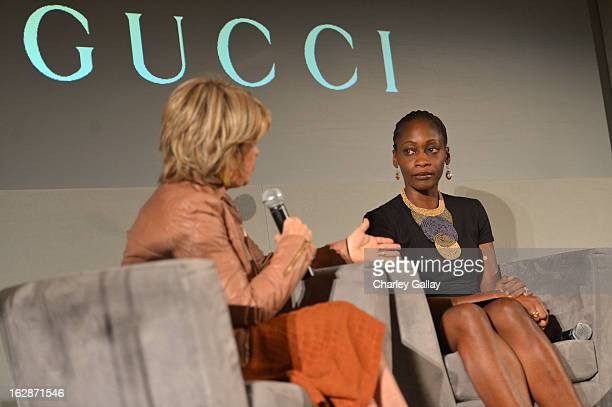 Pat Mitchell President CEO The Paley Center for Media and Hafsat Abiola speak at the launch of Chime for Change founded by Gucci at TED held at The...