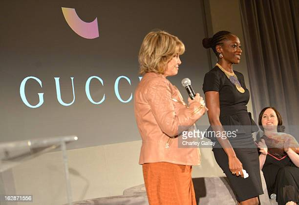 Pat Mitchell President CEO The Paley Center for Media Hafsat Abiola and filmmaker and author Joanna Lipper speak at the launch of Chime for Change...