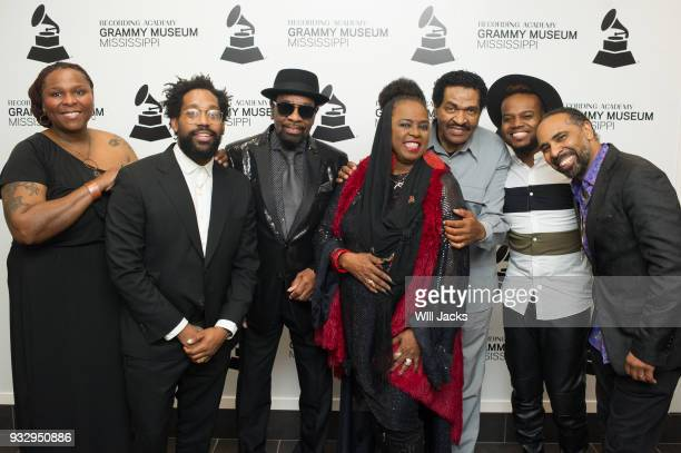 Pat Mitchell Worley PJ Morton William Bell Betty Wright Bobby Rush Travis Greene and Boo Mitchell pose backstage at GRAMMY Museum Mississippi on...