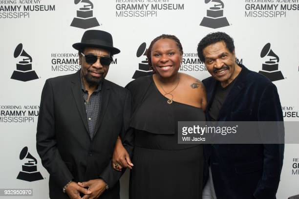 Pat Mitchell Worley poses with William Bell and Bobby Rush at GRAMMY Museum Mississippi on March 16 2018 in Cleveland Mississippi