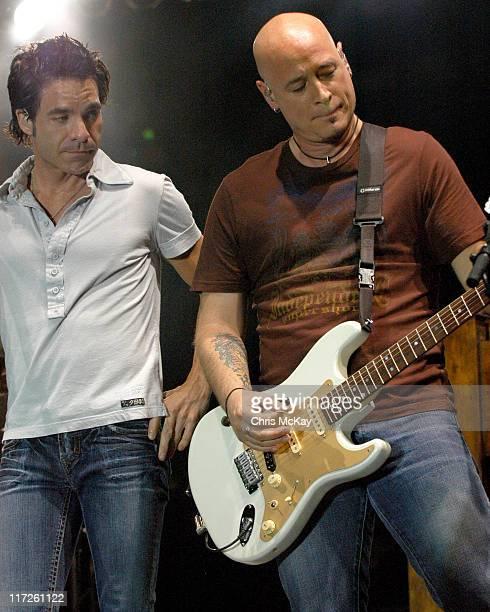 Pat Monahan and Jim Stafford of Train during Starfest 2006 Concert Atlanta GA July 22 2006 at Atlantic Station in Atlanta Georgia United States