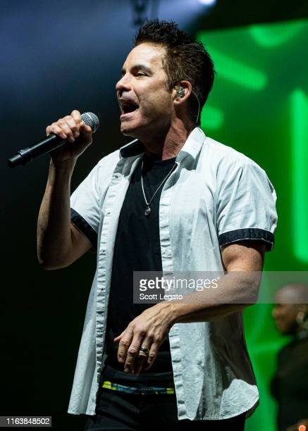 Pat Monahan of the band Train performs at DTE Energy Music Theater on July 23 2019 in Clarkston Michigan