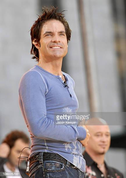 Pat Monahan of Train during Train Performs on 'Good Morning America' July 14 2006 at Bryant Park in New York City New York United States