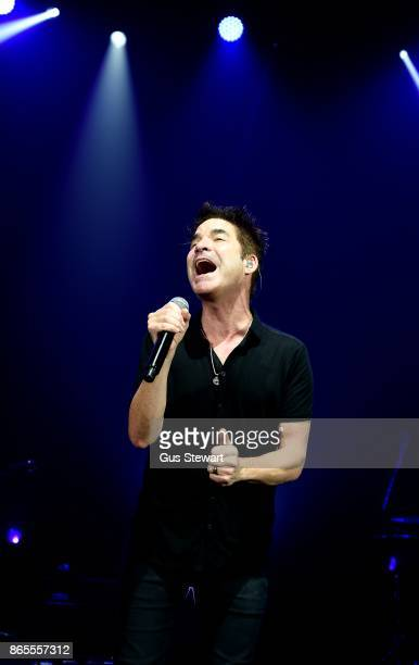 Pat Monahan of Train performs on stage at Eventim Apollo on October 23 2017 in London England