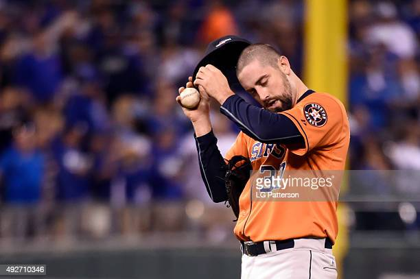 Pat Neshek of the Houston Astros is seen during Game 5 of the ALDS against the Kansas City Royals at Kauffman Stadium on Wednesday October 14 2015 in...