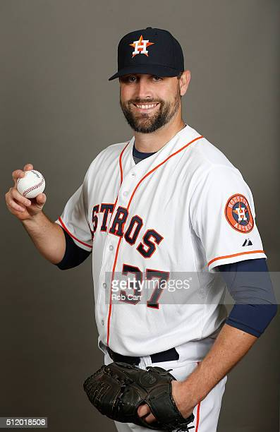 Pat Neshek of the Houston Astros poses on photo day at Osceola County Stadium on February 24 2016 in Kissimmee Florida