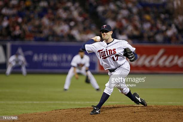 Pat Neshek of the Minnesota Twins pitches against the Boston Red Sox at the Humphrey Metrodome in Minneapolis Minnesota on May 4 2007 The Red Sox...