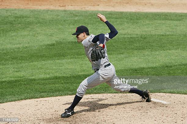 Pat Neshek of the Minnesota Twins pitches against the Chicago White Sox on July 26 2006 at US Cellular Field in Chicago Illinois The Twins defeated...