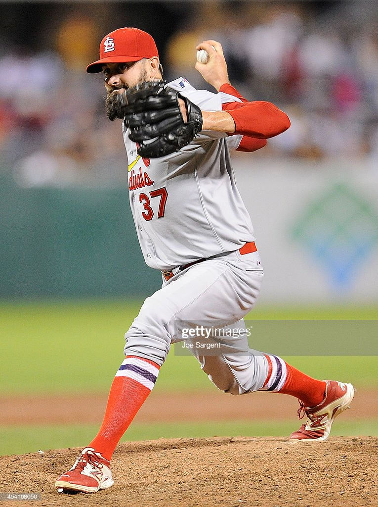 Pat Neshek #37 of the St. Louis Cardinals pitches during the eighth inning against the Pittsburgh Pirates on August 25, 2014 at PNC Park in Pittsburgh, Pennsylvania.