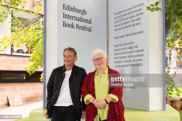 Pat Nevin and Val McDermid attend a photocall during the Edinburgh International Book Festival 2021 on August 15, 2021 in Edinburgh, Scotland.