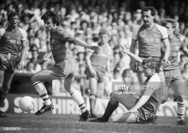 Pat Nevin of Chelsea makes a break forward during the Canon League Division 2 match between Chelsea and Shrewsbury Town held on April 21 1984 at...