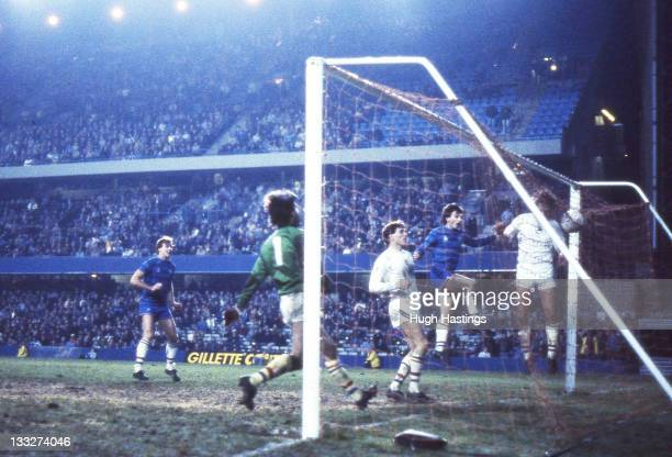 Pat Nevin of Chelsea scores a goal during the Canon League Division Two match between Chelsea and Swansea City held on December 6 1983 at Stamford...