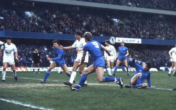 Pat Nevin of Chelsea shoots through a crowded goal-mouth during the Canon League Division One match between Chelsea and Tottenham Hotspur held on...
