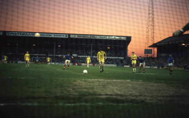 Pat Nevin of Chelsea steps up to score from the penalty spot during the Canon League Division Two match between Portsmouth and Chelsea held on April...