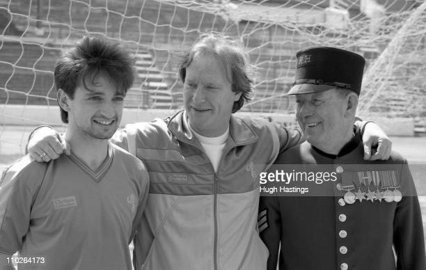 Pat Nevin of Chelsea with actor Dennis Waterman and a Chelsea Pensioner attend the launch of the Chelsea Collection clothing range at Stamford Bridge...