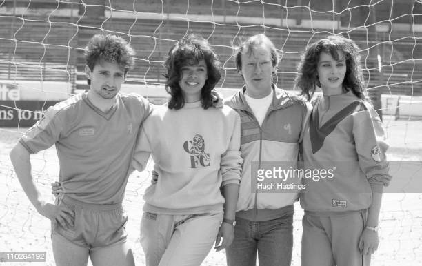 Pat Nevin of Chelsea with actor Dennis Waterman and models attend the launch of the Chelsea Collection clothing range at Stamford Bridge during April...