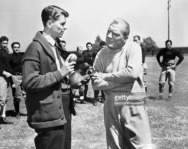 Pat O'Brien played title role of the famous Notre Dame football coach in Warner Brother's 1940 film Knute Rockne, All-American. Reagan played the...