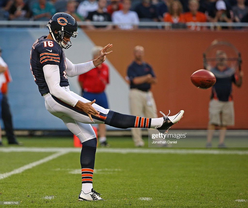Pat O'Donnell #16 of the Chicago Bears punts against the Miami Dolphins during a preseason game at Soldier Field on August 13, 2015 in Chicago, Illinois.