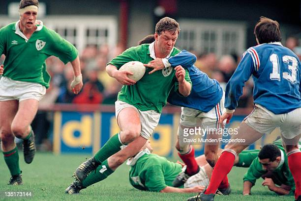 Pat O'Hara of Ireland in action against France during a Five Nations International rugby union match at Lansdowne Road in Dublin on 20th February...