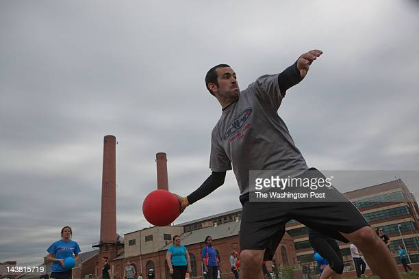 Pat O'Leary winds up to try a shot in a game of dodgeball Living Social Zog Sports Flying Dog and DC Brau held a dodgeball tournament pitting...