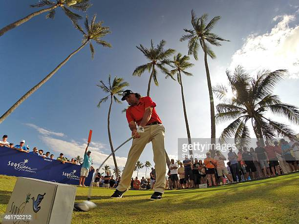 Pat Perez hits a drive on the 18th hole during the third round of the Sony Open in Hawaii at Waialae Country Club on January 17 2015 in Honolulu...
