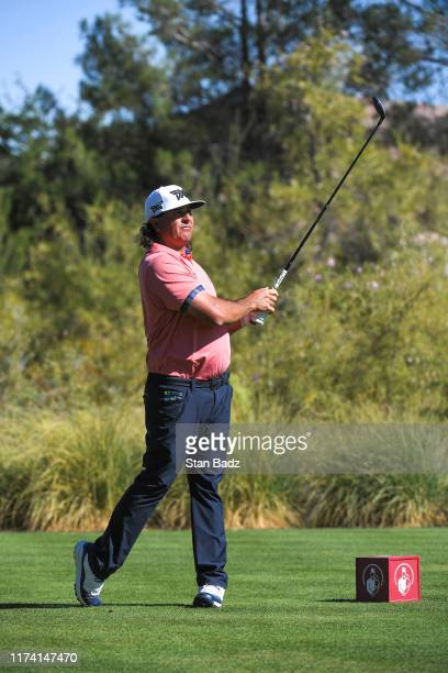Pat Perez hits a tee shot on the 15th hole during the third round of the Shriners Hospitals for Children Open at TPC Summerlin on October 5 2019 in...