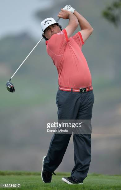 Pat Perez hits a tee shot on the 5th hole during the final round of the Farmers Insurance Open on Torrey Pines South on January 26 2014 in La Jolla...