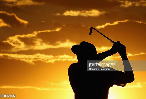 Pat Perez hits his second shot on the ninth hole during the first round of the Waste Management Phoenix Open at TPC Scottsdale on February 2 2012 in...