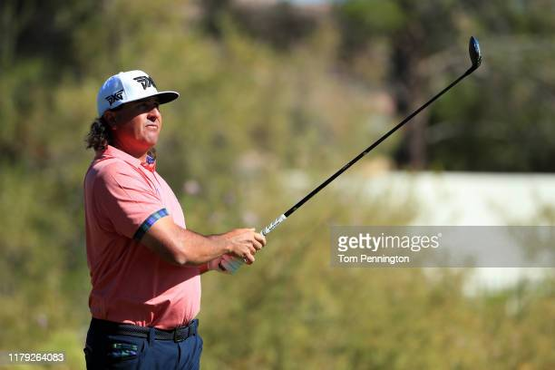 Pat Perez hits off the 15th tee during the third round of the Shriners Hospitals for Children Open at TPC Summerlin on October 5 2019 in Las Vegas...