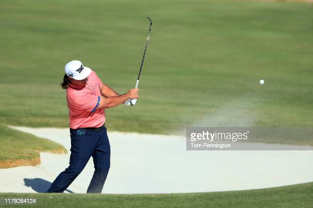 Pat Perez hits out of a bunker on the 15th hole during the third round of the Shriners Hospitals for Children Open at TPC Summerlin on October 5 2019...