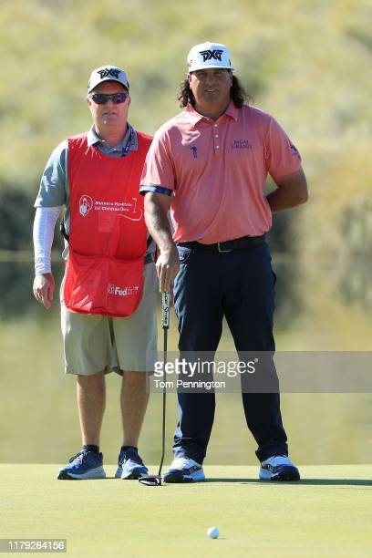 Pat Perez lines up a putt on the 17th green during the third round of the Shriners Hospitals for Children Open at TPC Summerlin on October 5 2019 in...