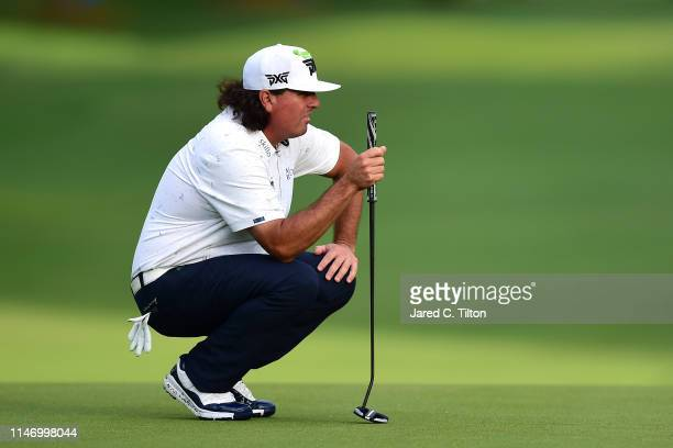 Pat Perez lines up a putt on the 18th green during the third round of the 2019 Wells Fargo Championship at Quail Hollow Club on May 04 2019 in...