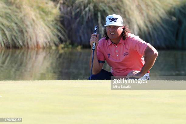 Pat Perez lines up a putt on the 18th green during the third round of the Shriners Hospitals for Children Open at TPC Summerlin on October 5 2019 in...