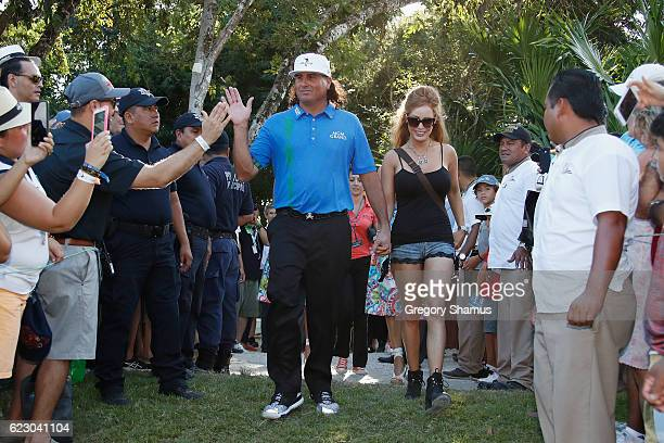 Pat Perez of the United States celebrates with fans after winning the OHL Classic at Mayakoba on November 13 2016 in Playa del Carmen Mexico Perez...