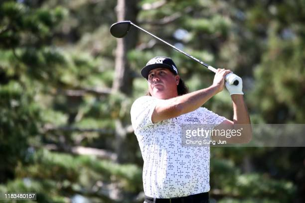 Pat Perez of the United States hits his tee shot on the 11th hole during the second round of the Zozo Championship at Accordia Golf Narashino Country...