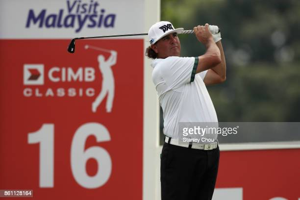 Pat Perez of the United States in action during round three of the 2017 CIMB Classic at TPC Kuala Lumpur on October 14 2017 in Kuala Lumpur Malaysia